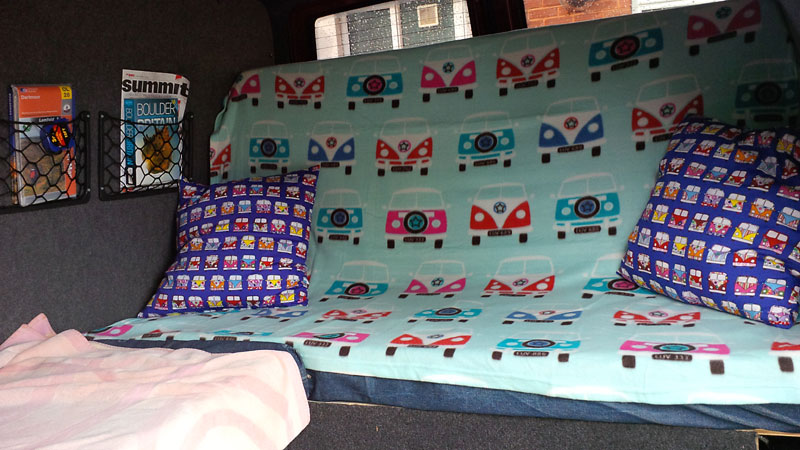 The finished interior, with camper throw and cushions!