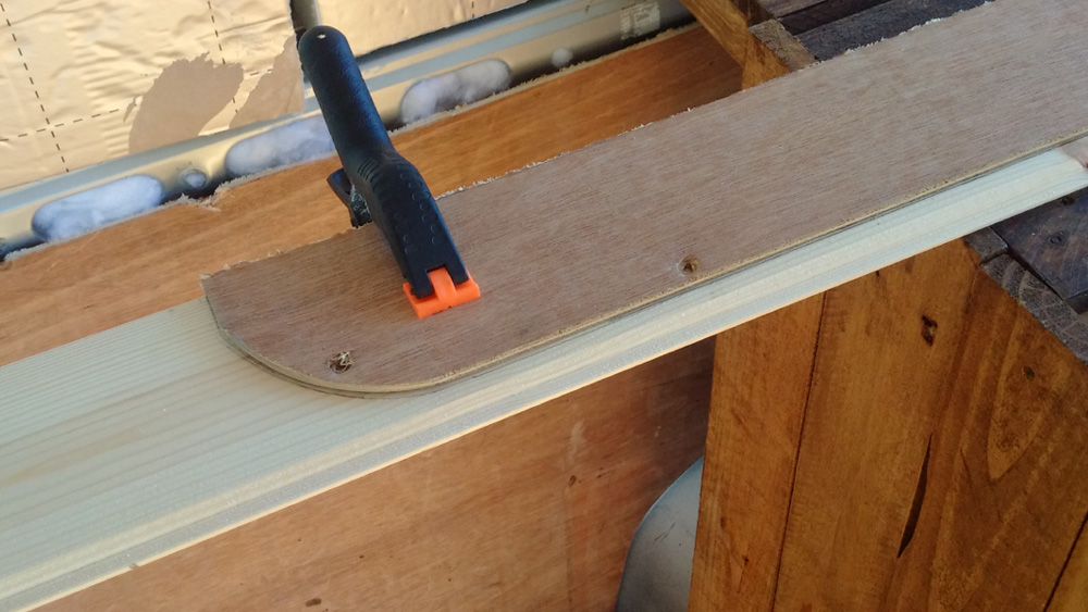 Using the ply lining as a template for the tongue and groove panels
