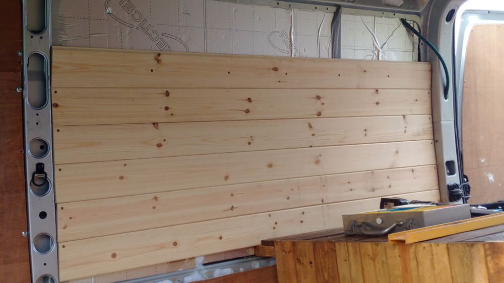 Tongue and groove panels being fixed to the wall