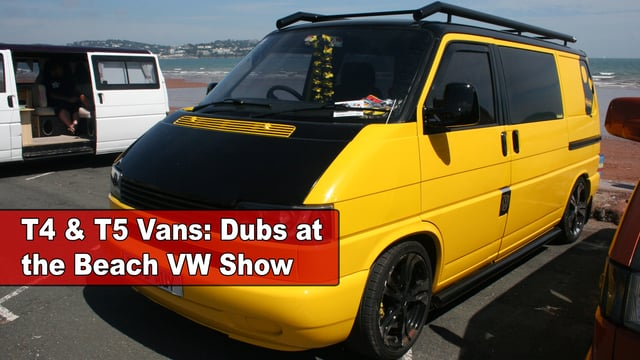 VW Transporter T4 and T5 vans at Dubs at the beach 2015