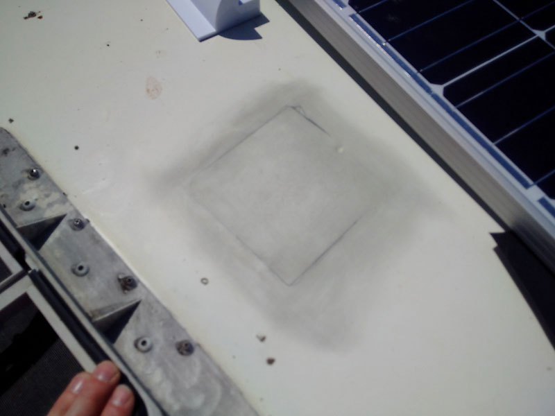 The cleaned surface where the mount will be located. Cleaned with wire wool, and then degreased