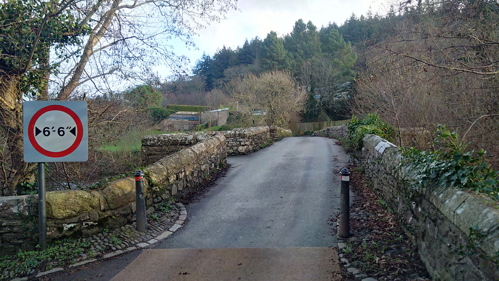 6ft 6in width restriction on the 15th Century bridge at Staverto
