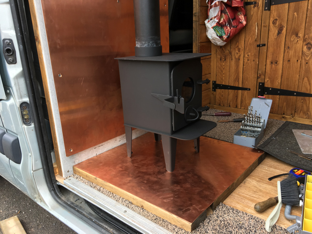 The new copper hearth - just needs fixing into place.