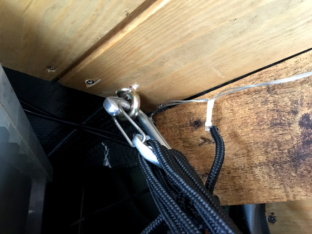 The front eye bolt for the hammock