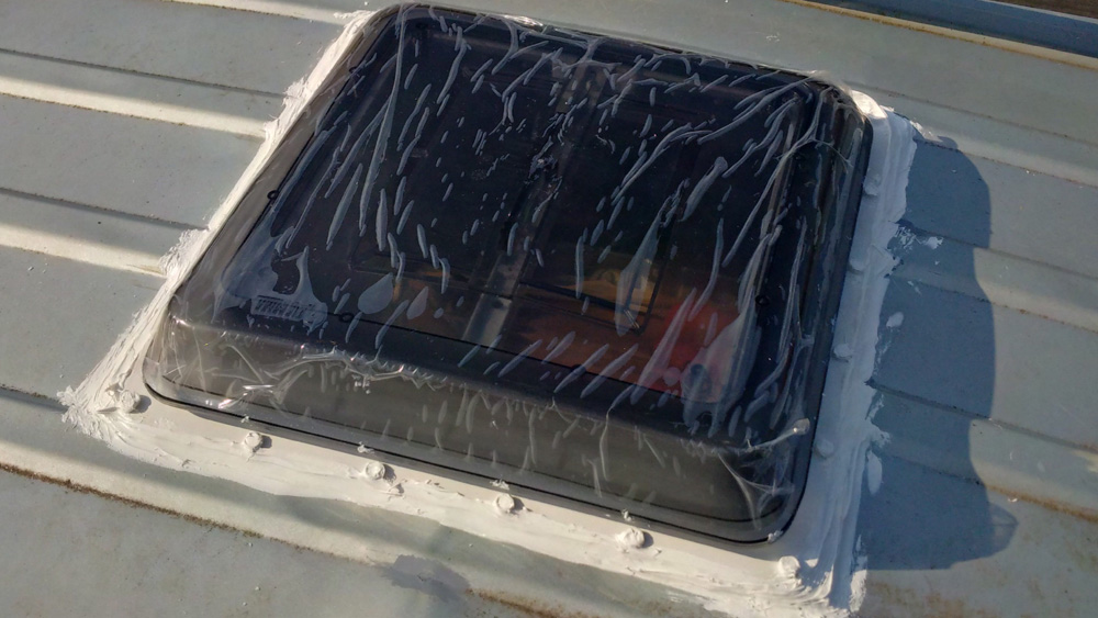 The roof vent installed - still with its protective plastic on!